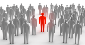 Red person in crowd of grey people